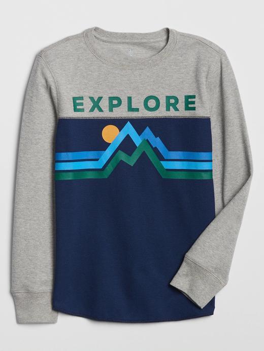 Erkek Çocuk Gri Gap Logo Uzun Kollu Termal T-Shirt