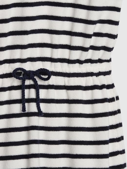 Kız Çocuk Beyaz Kapüşonlu Çizgili Elbise