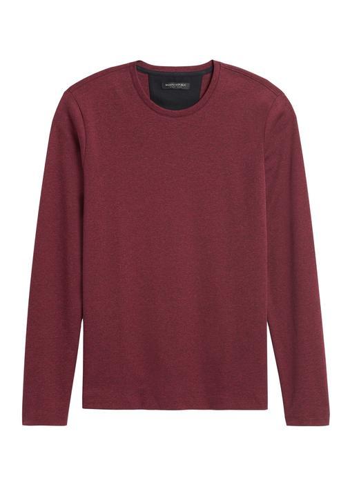 Erkek Kırmızı Luxury-Touch Sıfır Yaka T-Shirt