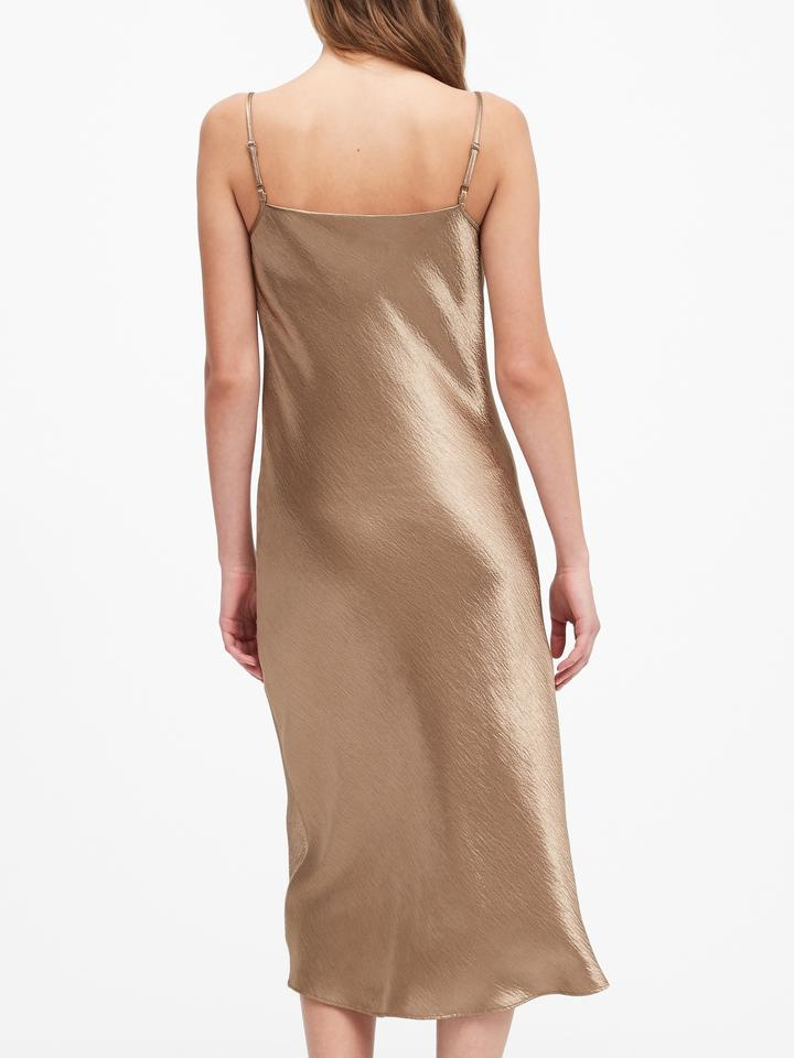 Saten Midi Slip Elbise