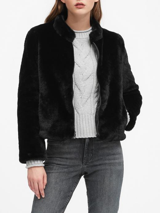 Kadın Siyah Kısa Suni Kürk Ceket