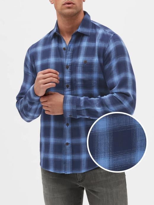 Erkek Mavi Uzun Kollu Untucked Fit Gömlek