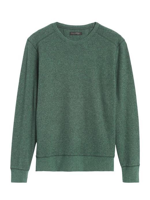 Erkek Yeşil Waffle-Knit Termal Uzun Kollu T-shirt