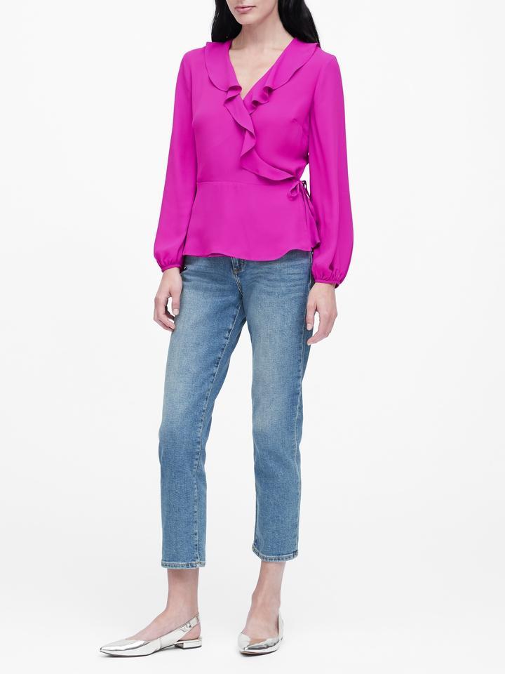 Kadın Siyah Fırfırlı Bluz