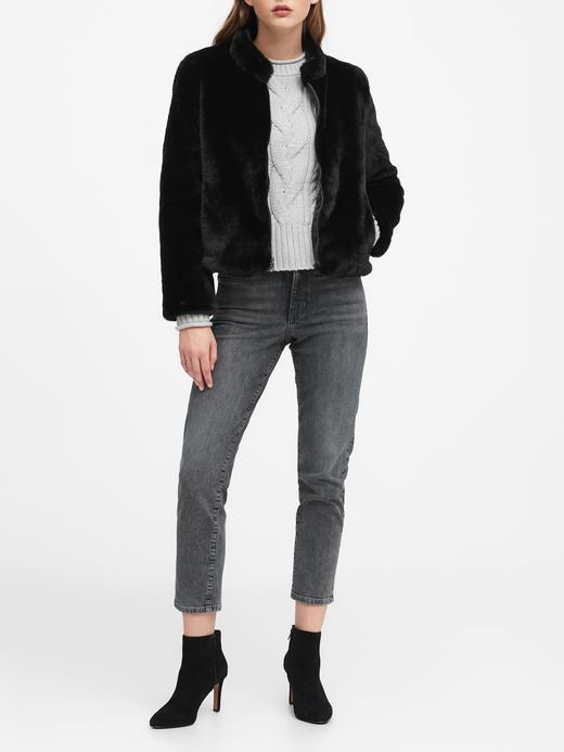 Kadın Beyaz Kısa Suni Kürk Ceket