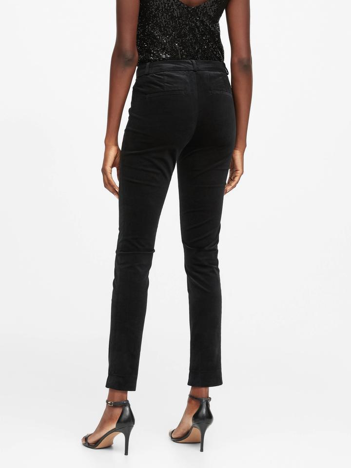 Kadın Siyah Modern Sloan Skinny-Fit Kadife Pantolon