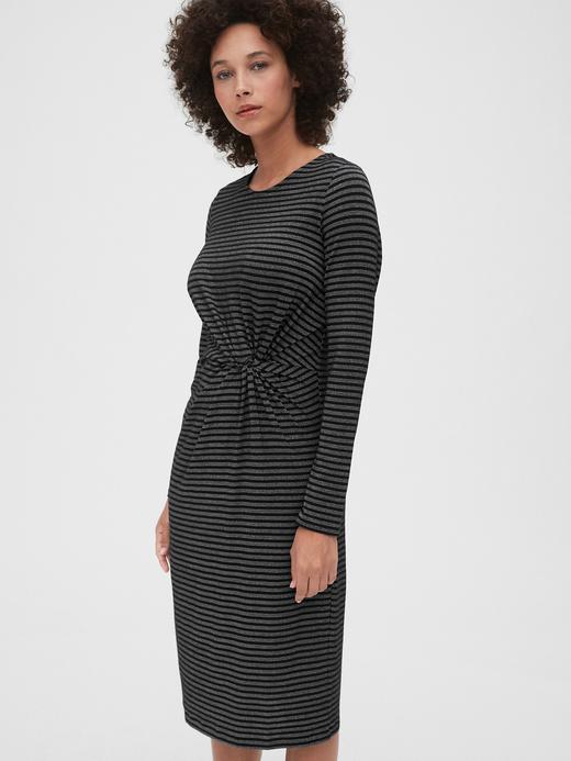 Kadın Siyah Metalik Çizgili Midi Elbise