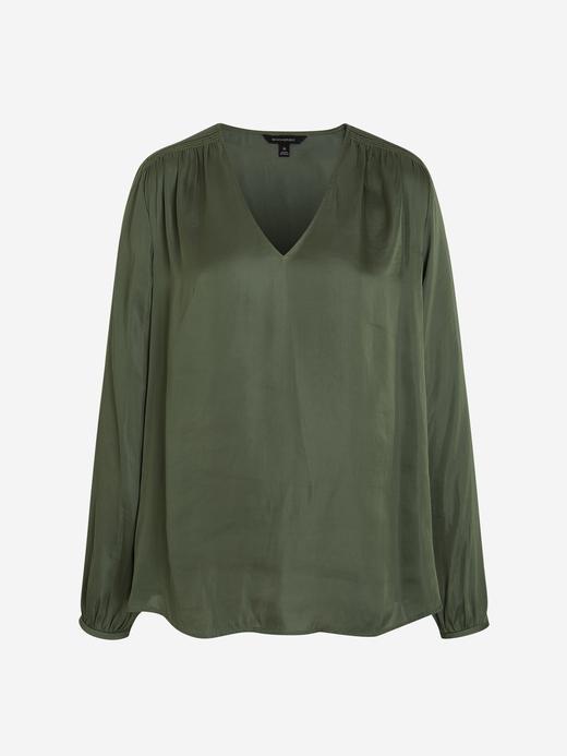 Kadın Yeşil Yumuşak Dokulu Saten Bluz