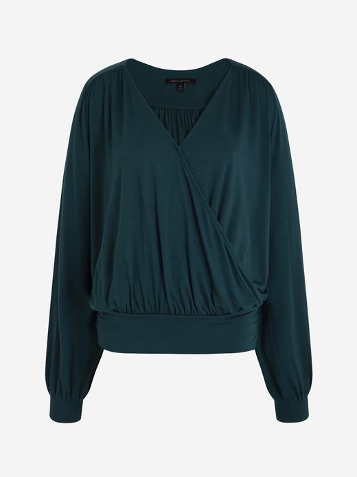 Kadın Yeşil Uzun Kollu Kruvaze Bluz