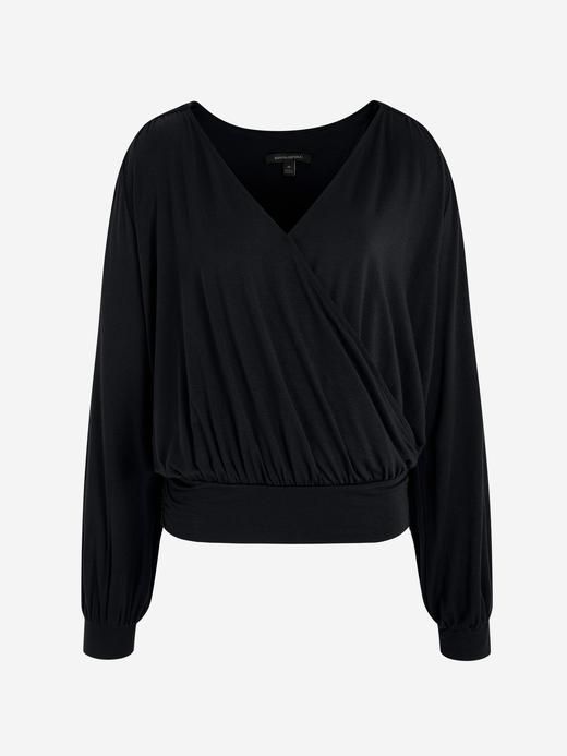 Kadın Siyah Uzun Kollu Kruvaze Bluz