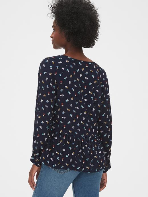 Kadın Lacivert Desenli Peplum Bluz