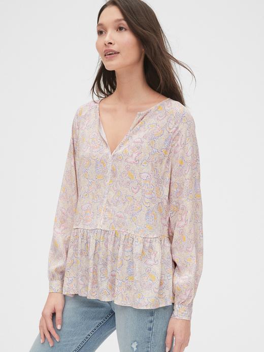 Kadın Pembe Desenli Peplum Bluz