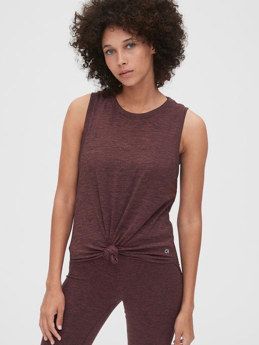 Kadın Bordo GapFit Kolsuz T-Shirt