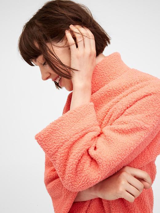 Kadın Pembe Sherpa Pullover Sweatshirt