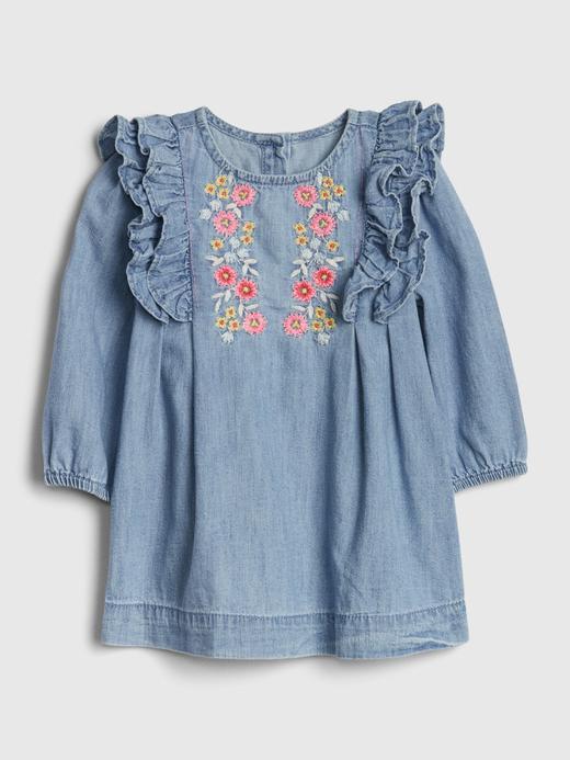 Kız Bebek Mavi İşlemeli Fırfırlı Elbise