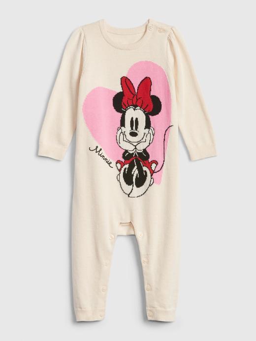 Kız Bebek Bej Disney Minnie Mouse Triko Tulum
