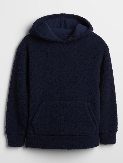 Erkek Çocuk Lacivert Sherpa Pullover Kapüşonlu Sweatshirt