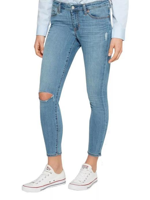 Kadın Açık İndigo Orta Belli Super Skinny Jean Pantolon