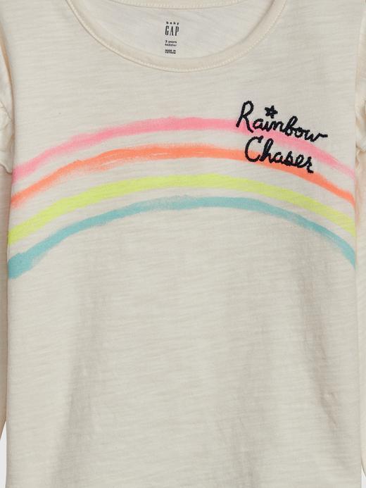 Kız Bebek Bej Graphic Fırfırlı T-Shirt