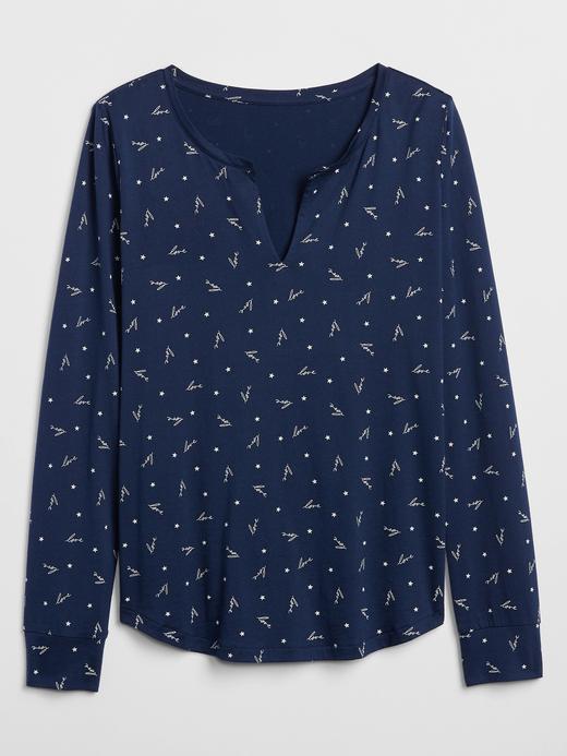 Kadın Lacivert Desenli Uzun Kollu Pijama Üstü