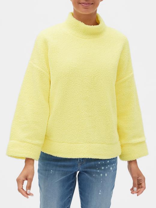 Kadın Sarı Sherpa Pullover Sweatshirt