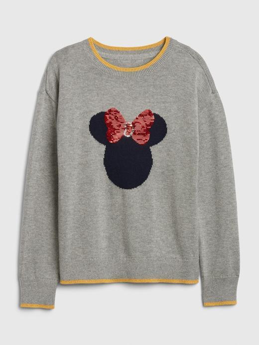 Kız Çocuk Gri Disney Mickey Mouse Pullu Kazak