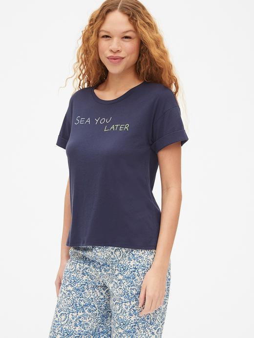 Kadın Lacivert Forever Favorite Kısa Kollu Grafik T-shirt