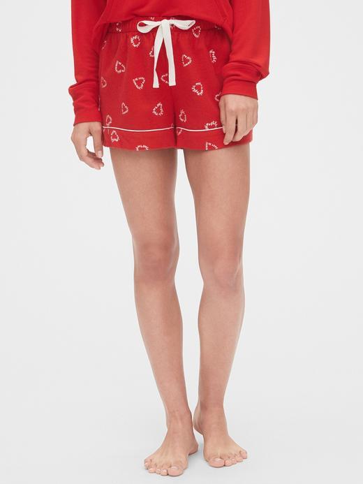 Kadın Kırmızı Desenli Pijama Şort