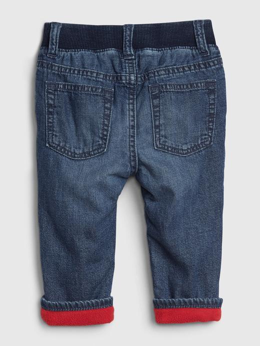 Erkek Bebek Mavi Polar Astarlı Straight Jean Pantolon