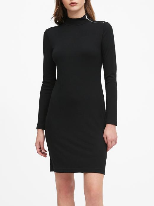 Kadın Siyah Balıkçı Yaka Fitilli Elbise