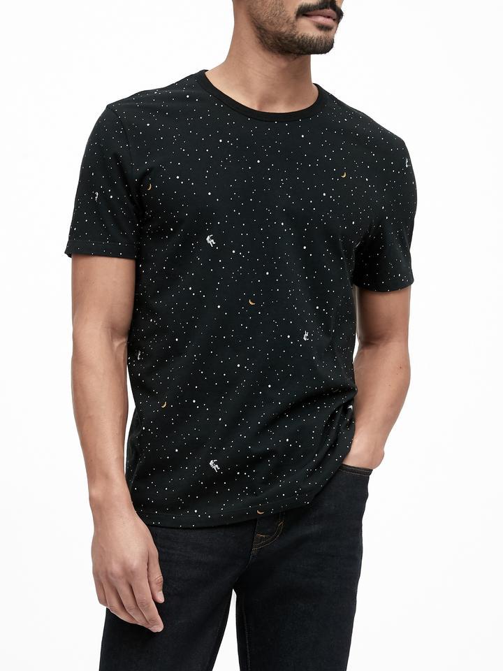 Erkek Siyah Grafik Desenli T-Shirt