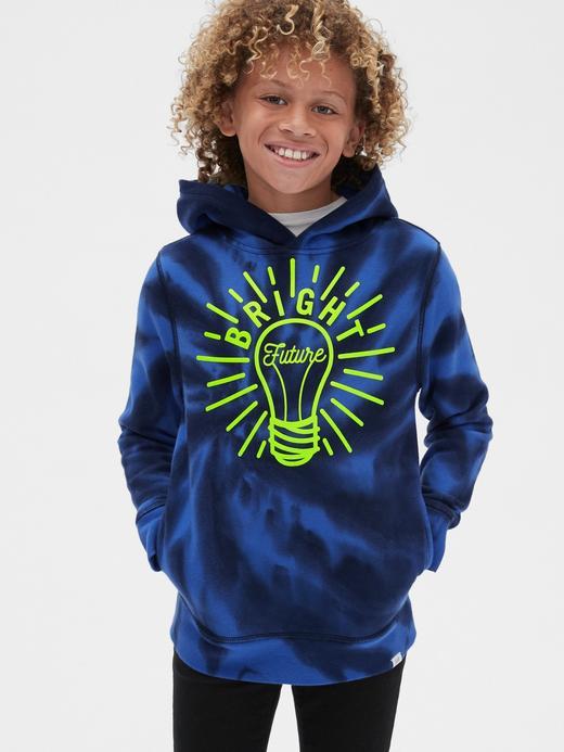 Erkek Çocuk Turuncu Batik Desenli Kapüşonlu Sweatshirt