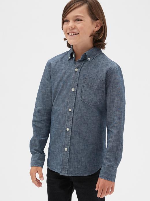 Erkek Çocuk Mavi Şambre Gömlek
