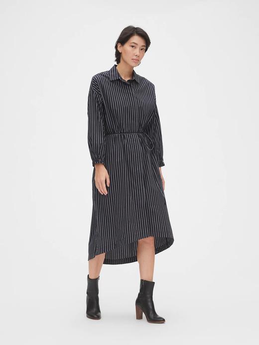 Kadın Lacivert Midi Çizgili Gömlek Elbise
