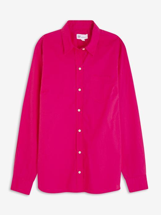 Kadın Pembe Uzun Kollu Poplin Gömlek