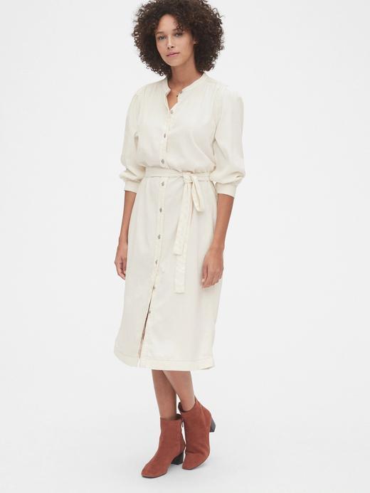 Kadın Beyaz 3/4 Kollu Denim Midi Gömlek Elbise