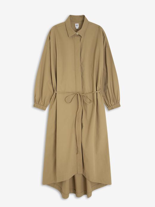 Kadın Kahverengi Midi Gömlek Elbise