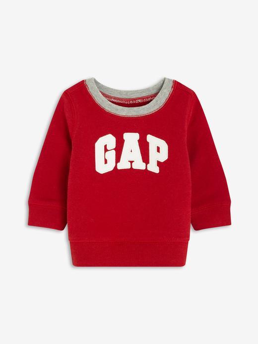 Erkek Bebek Kırmızı Gap Logo Düz Yakalı Sweatshirt