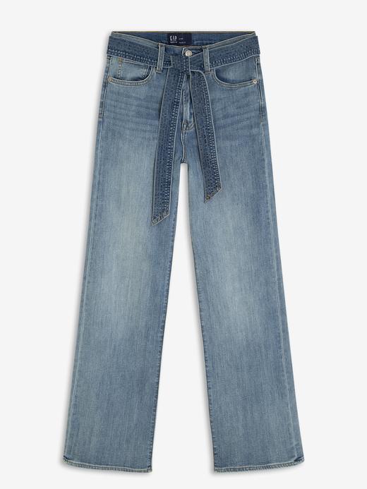Kadın Mavi High Rise Wide Leg Jean Pantolon