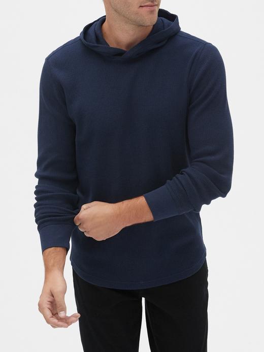 Erkek Lacivert Kapüşonlu Uzun Kollu T-Shirt