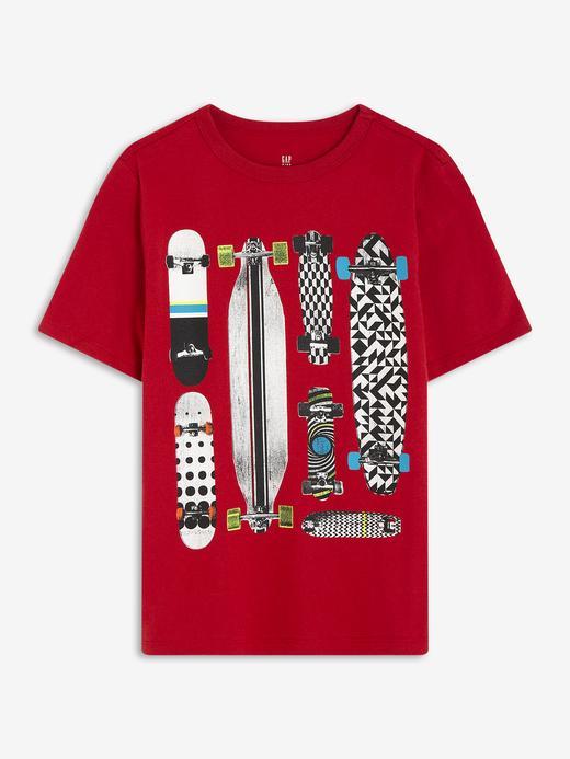 Erkek Çocuk Kırmızı Grafik Kısa Kollu T-Shirt