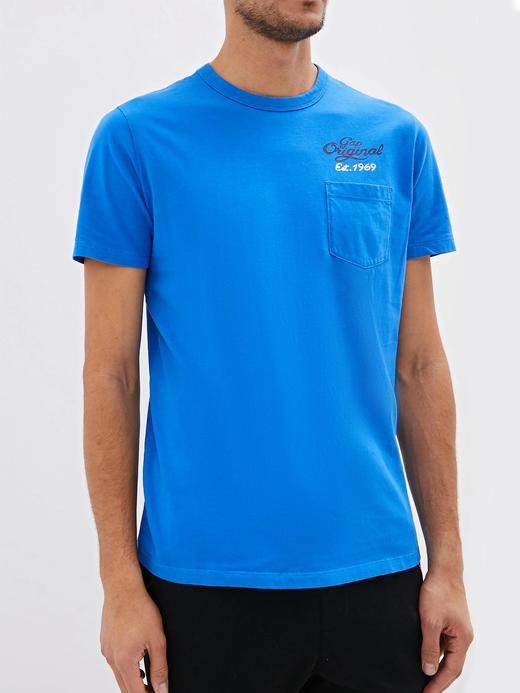 Erkek Mavi Gap Logo 50. yıl Kısa Kollu T-shirt