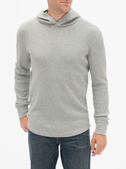 Erkek Gri Kapüşonlu Uzun Kollu T-Shirt