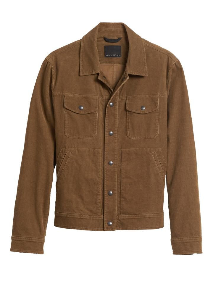 Erkek Kahverengi Kadife Trucker Ceket