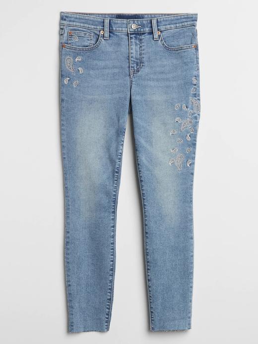 Kadın Mavi İşlemeli Mid Rise Legging Skimmer Jean Pantolon