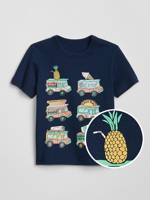 Bebek mavi Kısa Kollu Grafik T-Shirt