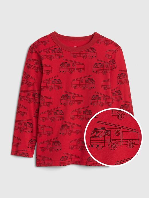 Bebek Kırmızı Desenli Uzun Kollu T-Shirt