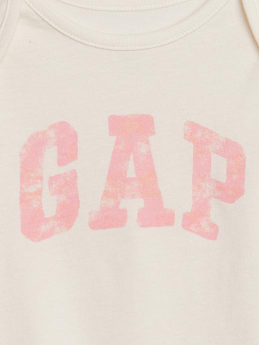 Kız Bebek Bej Gap Logo Kısa Kollu Body