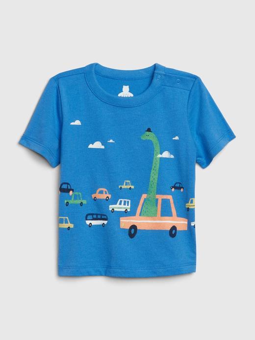 Erkek Bebek Mavi Kısa Kollu T-Shirt