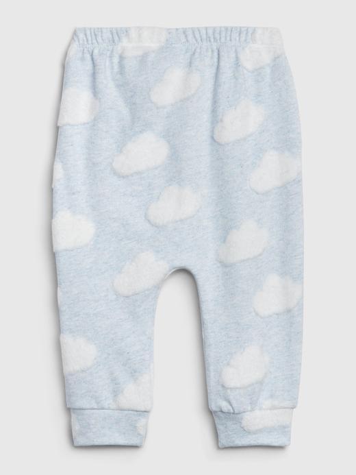Erkek Bebek Pembe Bulut Desenli Pull-On Eşofman Altı